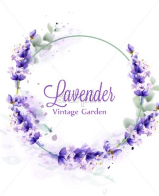 Lavender watercolor wreath Vector. Delicate floral bouquet frame. Spring summer banner template - starpik