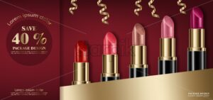 Lipstick sets mock up Vector realistic. 3D illustration advertising poster promoting makeup premium products. Package design. Color sample - starpik