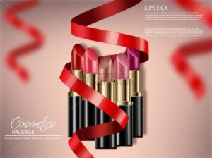 Lipstick sets with red bow Vector realistic. 3D mock up advertising poster promoting makeup premium products. Package design. Color sample - starpik