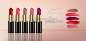 Lipstick sets with smear Vector realistic. 3D mock up advertising poster promoting makeup premium products. Package design. Color sample - starpik
