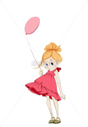 Little girl with a balloon Vector. Cartoon character colorful illustration - starpik