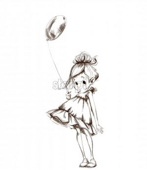 Little girl with a balloon Vector. Cartoon character sketch line art - starpik