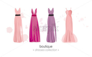 Long dresses Vector watercolor. Evening gowns beautiful elegant - starpik