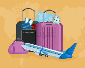 Luggage Vector flat style. Travel tourism concept template illustration - starpik