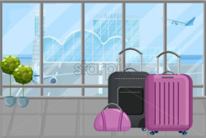 Luggage in the airport Vector flat style. Travel tourism concept template - starpik