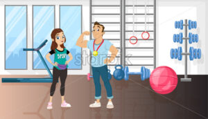 Man and woman in a sport gym Vector cartoon characters. Healthy lifestyle trainers coach concept - starpik