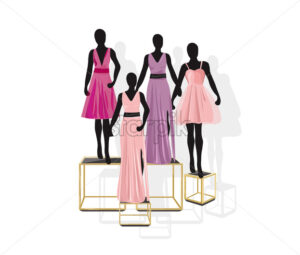 Mannequin Fashion dresses Vector illustration. Shopping concept front view - starpik