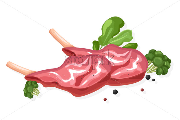 Meat fillet Vector flat style isolated on white background illustration - starpik