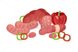 Meat set Vector. Pastrami, salami and saussage flat style - starpik
