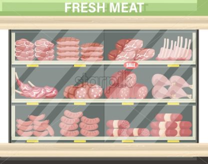 Meat set stands shopping Vector. Pastrami, salami and saussage flat style - starpik