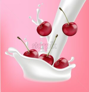 Milk and cherry fruits splash Vector realistic. Pink background template. 3d illustration - starpik