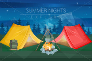 Night camping Vector flat style. Park nature outdoors background - starpik