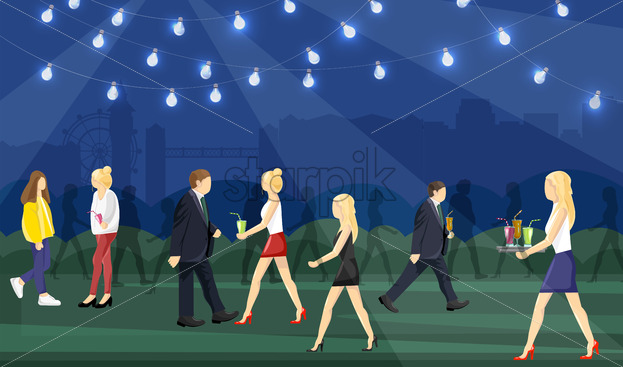 Night party people Vector flat style. Man and women having fun drinking cocktails - starpik