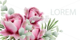 Peonies vector watercolor. Summer exotic floral background - starpik
