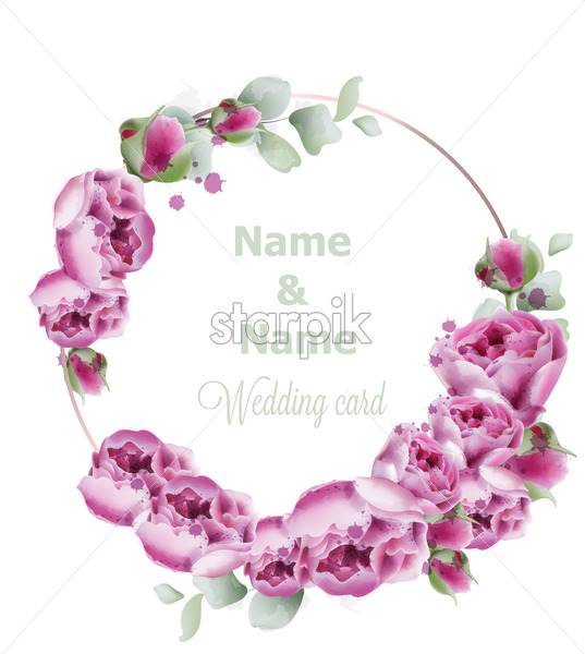 Peony wedding wreath vector watercolor. Birthday, women day, special occasion card. Pink small flowers decoration - starpik