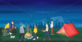 People at a picnic Vector flat style. Night camping park nature outdoors background - starpik