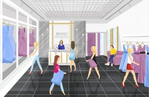People in a Fashion boutique with dresses Vector illustration. Shop store front view - starpik