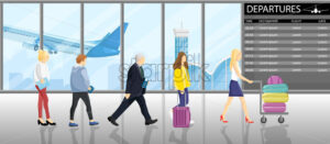 People in line at the gates airport Vector flat style. Tourists with their luggage. Departure panel on backgrounds. Travel concept agency advertise - starpik
