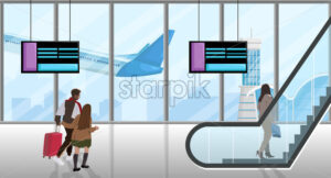 People in the airport Vector flat style. People running to catch the plane. Escalator and time table screens illustration - starpik