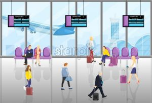 People in the airport Vector flat style. Tourist walking or sitting in the chairs. Time table screens on background - starpik
