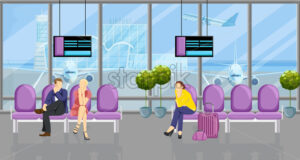 People in the airport waiting for their flight Vector flat style. Tourist sitting on the chairs. Time table screens on background - starpik
