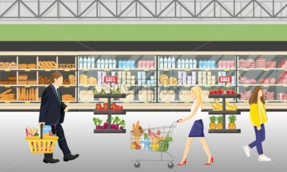 People in the supermarket shop Vector flat style. Shopping food products. Sales template - starpik