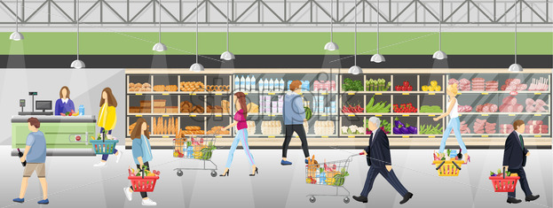 People in the supermarket shop Vector flat style. Shopping food products. Sales template banner - starpik