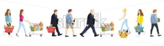 People shopping set. Women and men collection isolated on white Vector illustration - starpik