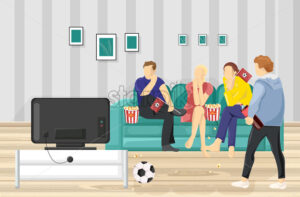 People watching football on TV Vector flat style. Teenage supporters fans at home - starpik