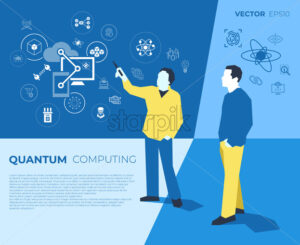 Quantum internet technology icons infographics with people, digital vector advert - starpik