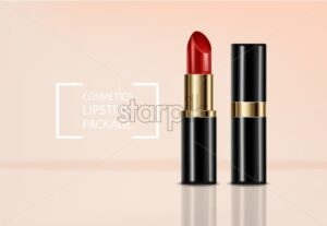 Red lipstick Vector realistic. 3D mock up advertising poster promoting makeup premium products. Package design. Color sample - starpik
