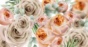 Roses watercolor Vector banner. Delicate flowers pattern texture. Floral wedding decor background - starpik