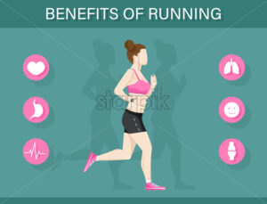 Running benefits template infographic with a woman and icons layout Vector flat style - starpik