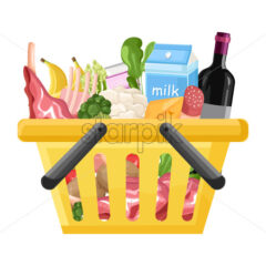 Shopping cart template Vector flat style. Product icon sale concept - starpik