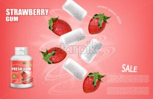 Strawberry chewing gum Vector realistic. Product placement detailed label design. Berry Fruit flavor. 3d illustration - starpik