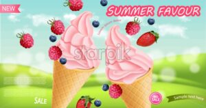 Strawberry ice cream cone Vector realistic. Swirled smooth creamy toppings. Fruits splash juicy background - starpik