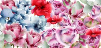 Summer flowers vector watercolor. Floral decor background - starpik