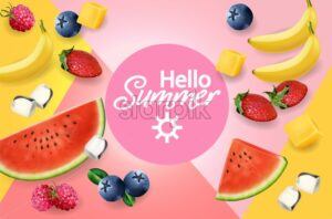 Summer fruits abstract pattern Vector realistic. 3d detailed textures. Banana, watermelon and berries - starpik