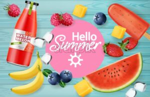 Summer fruits and juices Vector realistic. 3d detailed textures. Banana, watermelon and berries decor - starpik