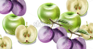 Summer fruits vector watercolor pattern background. Apples, plums and grapes illustration - starpik