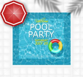 Summer pool and life ring Vector realistic. Commercial banner sale template. 3d detailed water background - starpik