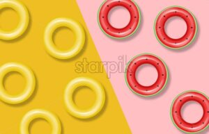 Summer pool and life ring Vector realistic. Commercial banner sale. 3d detailed water background - starpik