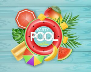 Summer pool tropic fruits card Vector realistic. 3d detailed textures. Banana, watermelon and berries decor - starpik