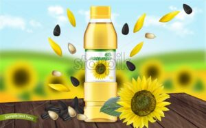 Sunflower oil Vector realistic mock up. Product placement label design. 3d illustration - starpik