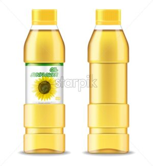 Sunflower oil isolated Vector realistic. Product placement label design. 3d illustration - starpik