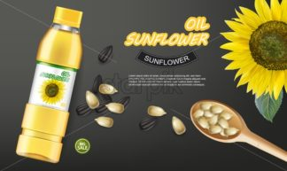 Sunflower seeds oil Vector realistic mock up. Product placement label design. 3d illustration - starpik