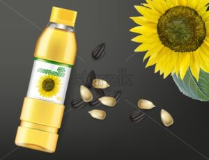 Sunflower seeds oil Vector realistic mock up. Product placement label design. Dark background. 3d illustration - starpik
