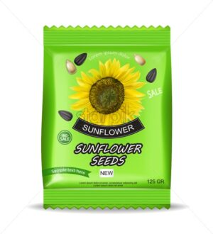 Sunflower seeds package Vector realistic isolated. Product packaging. Detailed 3d design - starpik