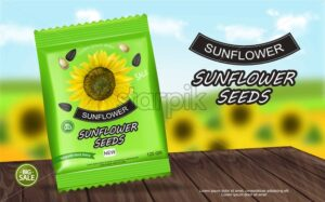Sunflower seeds package Vector realistic. Product packaging mock up. Detailed 3d design - starpik