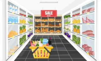 Supermarket shopping sale banner Vector. Food products and drinks illustration - starpik